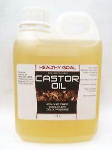 CASTOR OIL 1L Litre ~ 100% PURE ~ Natural Premium Grade Cold Pressed HEXANE FREE