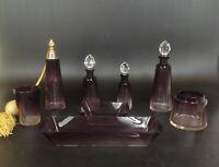 c.1930 BACCARAT Purple Clear Cut Crystal Glass Vanity JAR FRANCE