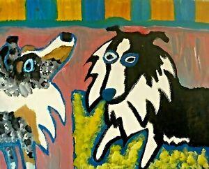 Sheltie Abstract Modern Art Print 8x10 Dog Shetland Sheepdog Collectible Signed