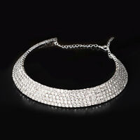 Women Crystal Chain Choker Chunky Statement Bib Pendant Collar Necklace Jewelry