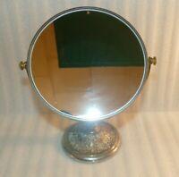 VTG Silver Tone Standing Tabletop Swivel Tilt Two-sided Ornate Vanity Mirror 8.5