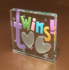 Spaceform Twins Glass Token New Baby Twins Gift Newborn Birth Gifts Ideas 1470