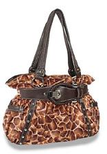 Faux Fur Giraffe Animal Patterned Belted Tote Handbag