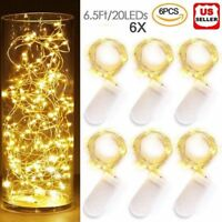 6 Pack Fairy String Lights 6.6Ft 20LED Battery Starry Copper Wire Firefly LED US