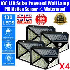 More details for 4x 100led solar power pir motion sensor wall lights garden security lamp outdoor