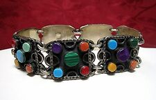 925 STERLING SILVER TS-94 RARE MULTI GEM COLOR STONE HEAVY WIDE LINK BRACELET
