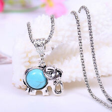 Natural Turquoise Jewelry Present Tibet Silver Elephant Necklace Unisex Gifts