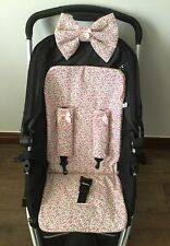 VINTAGE FLORAL PRAM LINER PADDED HOOD BOW HARNESS COVERS BUGGY satin bows pink