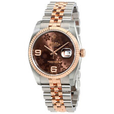Rolex Oyster Perpetual Datejust Chocolate Floral Motif Dial Automatic Ladies