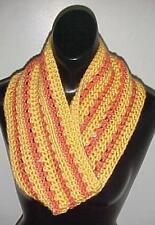 Hand Crochet Loop Infinity Circle Scarf/Neckwarmer #115 Yellow/Salmon New