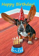 3D Postcard - HAPPY BIRTHDAY Basset Hound - Dog - Lenticular Greeting Card