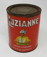 VINTAGE ONE POUND LUZIANNE COFFEE & CHICORY TIN CAN NEW ORLEANS w LID