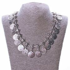 Women Vintage Silver Ethnic Gypsy Jewelry Tassel Coin Necklace Costume Chain 1pc