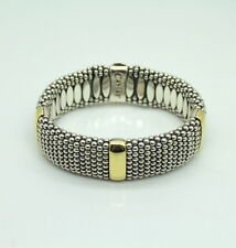 """Steven Lagos Caviar 8"""" Sterling Silver and 18K Yellow Gold Bracelet"""