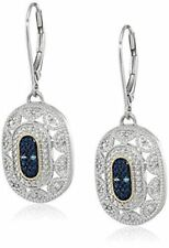 Earrings 9ct White Gold Over Sapphire & Diamond Drop 37 mm Art Deco Seasonal