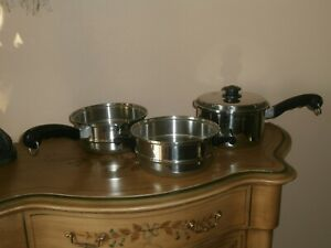 Saladmaster Cookware 4 pc Double Boiler Steamer Set w/ Vapo Lid Stainless Steel