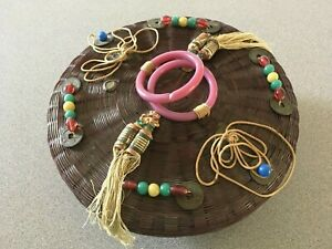 ANTIQUE Chinese SEWING BASKET WITH GLASS BEADS,SILK TASSELS & COINS