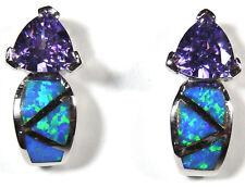 Amethyst & Blue Fire Opal Inlay 925 Sterling Silver Stud, Post Earrings