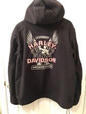 Harley Davidson Men's Large Waterproof Reflective Hooded Fleece Jacket