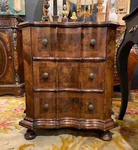 Italian Walnut Barque Style Chest Of Drawers