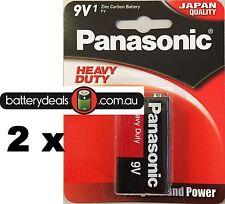 2 Panasonic Heavy Duty Batteries 9V 6F22DP Smoke alarms and similar Zinc Carbon