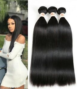 Brazilian Human Hair Extension Straight Natural 100% Remy Hair Weave 3 Bundles