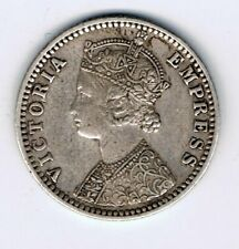 1892 India 1/4 Quarter Rupee silver coin : 2.8g