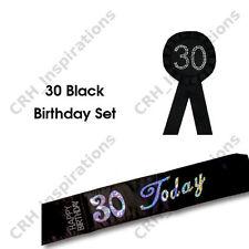Black '30 Today' Satin sash + Black 30th Birthday Rosette NEW