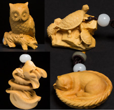 "D056 -2"" Boxwood carving Netsuke :Owl or Turtle or Snake or Cat (price for 1)"