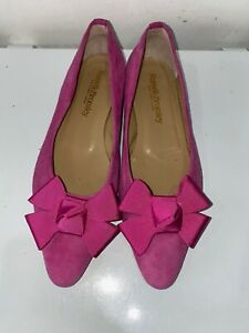 Russell & Bromley Paris pink pointed toe flat pumps large bows gold logo 6.5