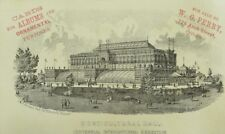 1876 Horticultural Hall Centennial Expo Engraved Victorian Trade Card F8