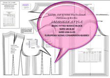 JAPANESE BUNKA FITTED BODICE BLOCK- UK, USA & EU SIZING-pattern magic! 8-22
