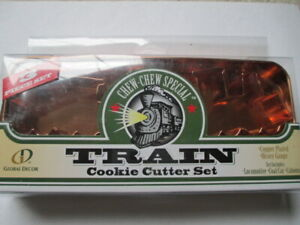 Global Decor Chew Chew Special TRAIN Cookie Cutter 3 Piece Set Copper Plated NIP