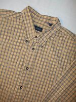IZOD Dress Shirt Men's Size L Casual Long Sleeve Button-Front Yellow Blue Check