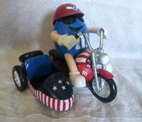 M&M Dispenser, Freedom Rider, Blue on a Motorcycle with a sidecar 1993 RARE. EUC