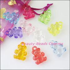 25Pcs Mixed Plastic Acrylic Clear Animal Bear Charms Pendants 15x20.5mm