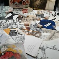 Vintage Ephemera label illustrations paper great for junk journaling crafts