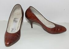 Vtg 50'S Alligator High Stiletto Heel Pinup ShoesPumps 7 Brown