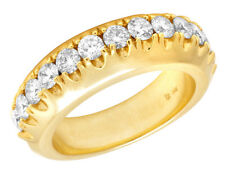 Mens 1 Row Solitaire Raised Real Diamond 14K Yellow Gold Ring Band 1 9/20 CT