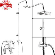 Traditional Bath Shower Mixer Tap With 3 Way Round Rigid Riser Rail Kit *WN