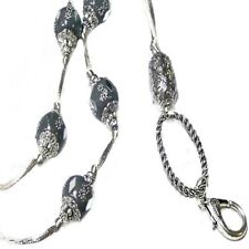 Lanyard cord necklace Silver Indonesian Bead, ID badge holder, adjustable length