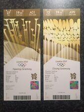 London 2012 Olympic Ouverture & Cérémonie De Clôture Des Tickets Stubs * NEUF *