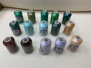 Misc Embroidery Thread Lot of 15 - Assorted Colors - Green