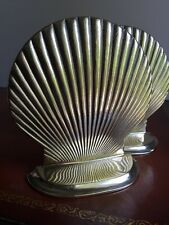 Beautiful Solid Brass Shell Bookends - Super Shiny Beach House Decor!
