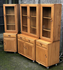 SUPERB WINDSOR ERCOL COLLECTION OF GLAZED BOOKCASE/CABINETS VERY CLEAN