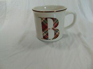 Pottery Barn Initial Mug Letter B Plaid with Gold Rim