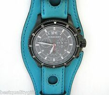NEW BURBERRY SURF TURQUOISE BLUE LEATHER CUFF CHRONOGRAPH WATCH BU7606