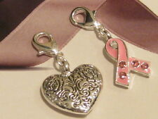 2x CHARMS- 3D SILVER PATTERNED HEART CHARM & PINK CZ RIBBON BREAST CANCER CHARM