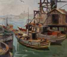 Emil Kosa Sr. Harbor Scene Believed to be the Harbor at San Pedro, California