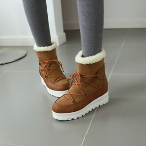 Womens Warm Snow Boots Lace Up Flat Ankle Boots Winter Platform High Top Shoes